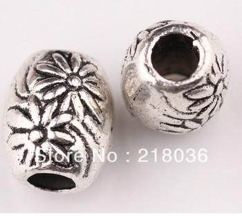 Lots 200 Pcs Tibetan Silver Big hole Bali charms Spacer BeadsDIY Metal Jewelry  8*7*2mm   M860