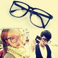 Vintage plain eyeglasses frame female glasses female male black picture frame female male big frame myopia leopard print