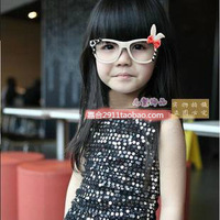 Child glasses frame lens rabbit ear cartoon glasses female baby eyes box rack