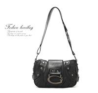 2013, All-match black big g letter rivet motorcycle women's handbag shoulder bag messenger bag dual-use 480g  .free shipping