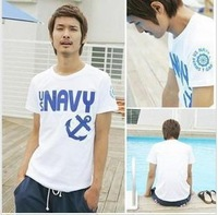 2013 male short-sleeve vesseled letter slim male 100% T-shirt cotton o-neck short-sleeve shirt