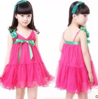free shipping Promotion 2013 Summer new kids children braces  dresses,girl's bowknot chiffon dresses