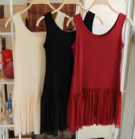 Miss yiyi cotton patchwork chiffon ruffle basic tank dress one-piece dress multicolor