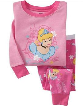 Wholesale baby girl sleepwear sleep set 100% cotton pink princess full sleeve pajamas set GL-0089, 48 sets/lot,  free shipping