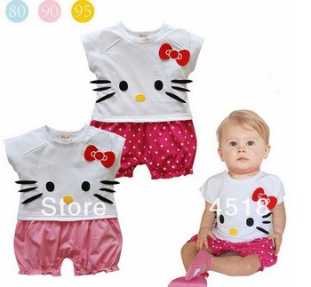 3pcs/lot Hello Kitty Baby summer clothing short sleeve rompers infant homewear girl's shirts,3size,2colors,free shipping