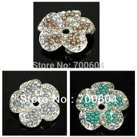 2014 Newest Fashion Style Flower Shank Rhinestone Metal Alloy Wedding Garment Craft Jewelry Buttons, Factory Supply