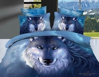 2013 New Beautiful 100% Cotton 4pc Doona Duvet QUILT Cover Set bedding sets Full Queen King size 4pcs animal blue wolf