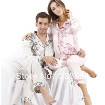 Free shipping Rose spring and autumn male sleepwear elegant noble print faux silk long-sleeve lounge set 6035