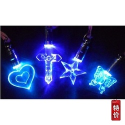 free shipping luminous fashion blue led flashing necklace pendant(China (Mainland))