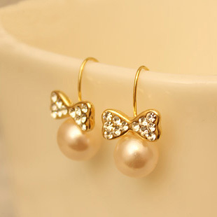 Z485 accessories earring pearl diamond bow earrings unique stud earring(China (Mainland))