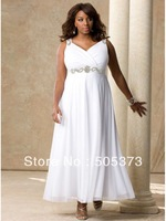 Euro Type A-line Ankle Length White Chiffon Plus Size V-neck Bridal Dresses 2012