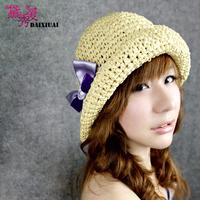 Hat female summer handmade soft strawhat small beach cap sunscreen casual sunbonnet folding