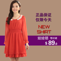Free shipping brand discount 75% 2013 long-sleeve chiffon short skirt peter pan collar slim one-piece dress