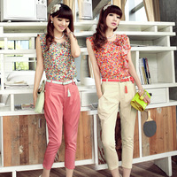 Free shipping brand discount 75% Summer women's 2013 fancy pants set summer twinset belt