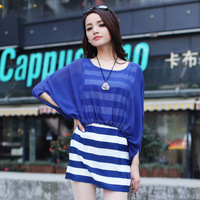 2013 summer stripe batwing sleeve faux two piece step skirt summer short-sleeve dress