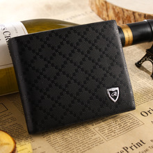 Free shipping 1pc Male short design genuine leather wallet men's casual cowhide wallet purse, two color to choose(China (Mainland))