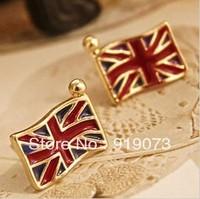 Min order.$10 Fashion Vintage personality enamel england flag stud earrings Free shipping