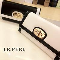 Free shipping 2014 wallet female genuine leather women's long design color block women's wallet women's wallet