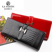 Free shipping 2013 design cowhide long wallet women's Genuine leather wallets