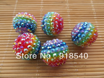 2013 New Rainbow Strips 100pcs 22MM Mixed Color Acrylic Strips Resin Ball Rhinestone Beads for  Chunky ecklace Jewelry
