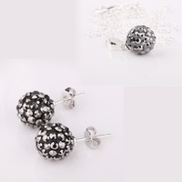 SHAMBALLA JEWELRY CLEAR GRAY SHAMBALLA CRYSTAL NECKLACE PENDANT & STUD EARRINGS SET NEW ARRIVEL