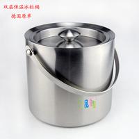 Ice-pail double layer heat insulation bucket ice stainless steel  wine ice bucket ice tongs 2L