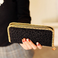 2012 winter fashion horsehair long design wallet leopard print fur purses card holder