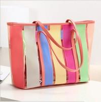 Color block 2013 jelly bag beach bag sweet candy color transparent bag picture package one shoulder women's handbag