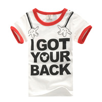 Free Shipping  Children's Clothing Summer Top  Short-sleeve Print Letter T-shirt