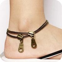 Oa0002 vintage double layer anklet zipper anklets zip anklets 13g