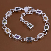 H261 Wholesale! 925 silver bracelet 925 silver fashion jewelry charm bracelet Square color stone bracelet