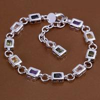 H261 Wholesale! 925 silver bracelet 925 silver fashion jewelry charm bracelet Square color stone bracelet