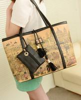 fashion bags  spring and summer women's handbag fashion vintage cartoon print shopping bag shoulder bag  ,free shipping