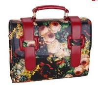 Vintage oil painting bag flower messenger bag briefcase bag  preppy style women's handbag