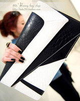 2013 fashion vintage serpentine pattern color block day clutch messenger bag envelope bag female bags