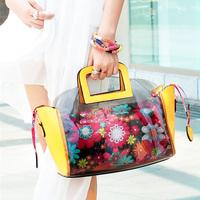 Free shipping Transparent bags  candy color flower crystal bag beach bag jelly bag women's handbag  ,2103