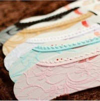 Min Order $10(mixed order)  brand lace shallow boat socks candy color woman socks A016 free shipping
