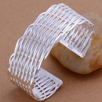 B011 Hot Sell! Wholesale 925 silver bangle bracelet, 925 silver fashion jewelry Bracelet, Weaved Flat Bangle Men,Women, charms