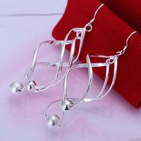 E166 Wholesale 925 silver earrings, 925 silver fashion jewelry, Gloss Ball Earrings