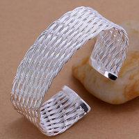 B035 Hot Sell! Wholesale 925 silver bangle bracelet, 925 silver fashion jewelry Bracelet, Web Bangle Men,Women, charms