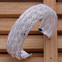 B139 Hot Sell! Wholesale 925 silver bangle bracelet, 925 silver fashion jewelry Bracelet, Big Web Bangle Men,Women, charms
