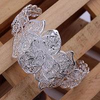 B164 Hot Sell! Wholesale 925 silver bangle bracelet, 925 silver fashion jewelry Bracelet, Flower Bangle Men,Women, charms