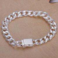 H037 Wholesale! 925 silver bracelet 925 silver fashion jewelry charm bracelet 10mm Square Lock Bracelet Men,Women, charms