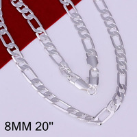 N018 Promotion! ,Men,Women, Chains 925 silver necklace, 925 silver fashion jewelry Chain 8mm Flat Necklace