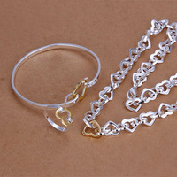 S306 women,chains,jewelry sets 925 silver jewelry set, fashion jewelry set Color Heart Ring Bangle Necklace Jewelry Set