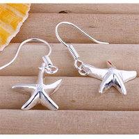 E090 Wholesale 925 silver earrings, 925 silver fashion jewelry, Seastar Earrings 18k, Plated. ,Women ,zircon