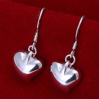 E111 Wholesale 925 silver earrings, 925 silver fashion jewelry, Small Peach Heart Earrings 18k, Plated.Gold ,Women ,zircon
