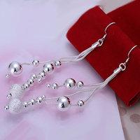 E006 Wholesale 925 silver earrings, 925 silver fashion jewelry, Triple Line of Beans Earrings
