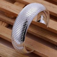 B034 Hot Sell! Men,Women, charms 925 silver bangle bracelet, 925 silver fashion jewelry Bracelet, Big Weaved Flower Bangle
