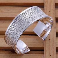 B049 Hot Sell! Men,Women, charms 925 silver bangle bracelet, 925 silver fashion jewelry Bracelet, Finished Weaved Flower Bangle